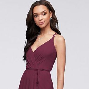 David's Bridal Double-Strap Long Georgette in Wine